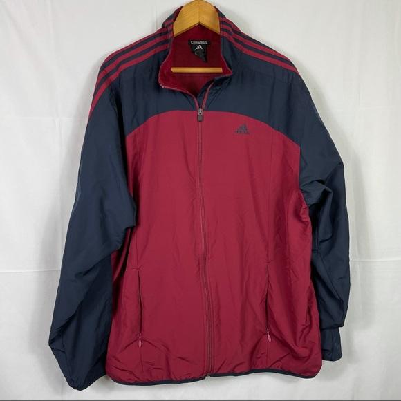 Adidas men's full zip burgundy and blue windbreaker jacket